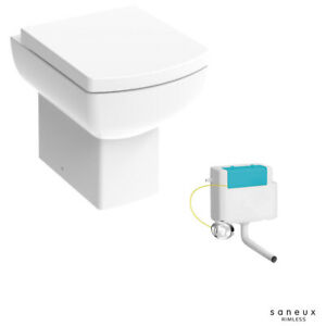 Square SANEUX Short Projection Rimless Back To Wall Toilet Pan Seat & Cistern