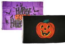 3x5 Happy Halloween 2 Pack Flag Wholesale Set Combo #25 3'x5' Banner Grommets
