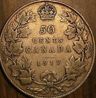 1919 CANADA SILVER 50 CENTS COIN HALF DOLLAR