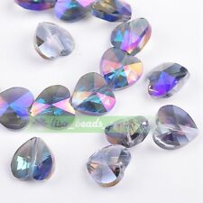 10pcs 14x9mm Faceted Heart Crystal Glass Charms Spacer Beads Purple Colorized