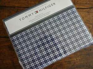 TOMMY HILFIGER NAVY Blue WHITE PLAID QUEEN SHEET SET 4PC Easy Care