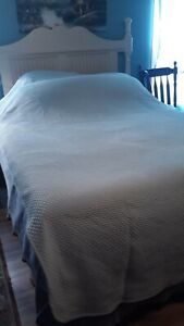 LL Bean twin bedspread stitched Matelasse 100% cotton soft pale blue 2 available