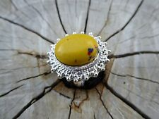 Empowering Jewelry Big Overlay Ring Silver Plated Size 7 Mosaic Jasper Boho