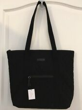 NEW Vera Bradley CLASSIC BLACK Villager Shoulder Bag Tote Purse Quilted - NWT