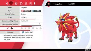 Shiny Solgaleo 6IV Max EVs Competitive Pokemon Sword Shield Choice Scarf Jolly
