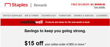 $15 off $60 coupon at Staples - expires 10/25/2020