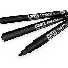 Pentel N50S Fin Permanent Marqueur – 3.18mm Mine Bille – Pack de 3 – Noir