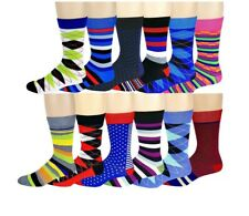 ac8ea746721 Different Touch 12 Pairs Mens Colorful Fashion Assorted Design Dress Socks  10-13