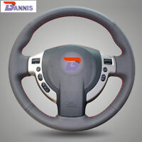 BANNIS Black Leather Steering Wheel Cover Wrap for Nissan QASHQAI NV200 Rogue
