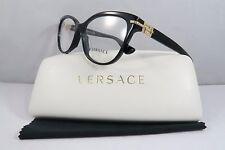 Versace MOD 3205-B GB1 Black/Crystals New Authentic Eyeglasses 54mm w/Case