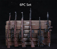 "US 6PCS RPG 1/6 M14 Automatic Rifle Model Assembly Weapon Gun Toy Fit 12"" Figure"