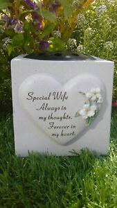 Wife Heart Lily Memorial Vase (rose bowl) Grave Garden Ornament memorial verse