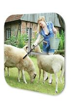 Wall Clock Pin Up Adult Art blonde sheep  printed acryl plexiglass