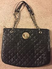 Dkny Quilted Leather Shoulder Bag With Gold Hardware And Chain Strap