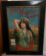 Vintage Collectible 1901 Tobacco Adv. Sign Turkish Trophy Factory Frame Original