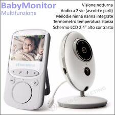 BABY MONITOR schermo 2.4 PORTATILE WIRELESS VISIONE NOTTURNA MELODIE NINNA NANNA