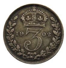 More details for 1902 king edward vii silver threepence coin great britain - ref; sc1.