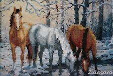 Pferde Winter Motiv Stickpackung Stickbild Bild sticken Perlen  Handarbeit 328