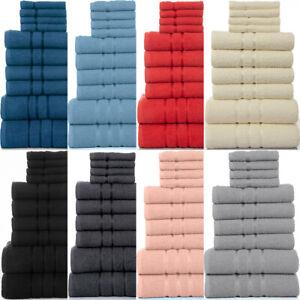 10PCS TOWELS BALE SET 100% COMBED COTTON SOFT FACE HAND & BATH BATHROOM TOWELS