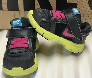 NIKE Fusion ST 2 Black/Yellow/Pink Running Shoes Toddler Girl Sz 5C 457038-008