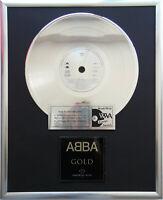 """ABBA Gold Greatest Hits CD/Cover gerahmt +12"""" Deko goldene Vinyl Schallplatte"""