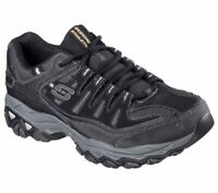 Skechers Men's After Burn Memory Fit Low Top Shoes Black Mountain Hike Clothi...