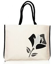 Lancome Summer Tote Canvas Large Beach Bag with Pink/Black Rose