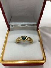 9ct Ladys Heart Shape Green Sapphire Ring. Brand New