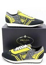 NIB Prada Mens Retro Black Yellow Fabric Trainers Sneakers Shoes 12 $760 New