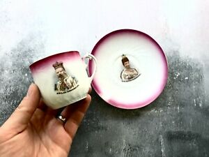 Antique 1902 Edward VII Queen Alexandra Tea Cup & Saucer