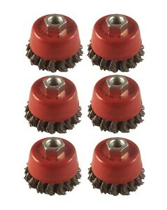 """6x Twist Knot Wire Wheel Cup Brush 3"""" M14 for 4.5"""" 115mm 9"""" Angle Grinder"""