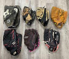Lot of 7 Adult & Youth Baseball & Softball Gloves RHT Mizuno, Demarini, Wilson+