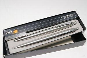 Vintage Parker Jotter Stainless Steel Ballpoint Pen Pencil Set Brushed Chrome