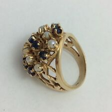 14K YELLOW GOLD PEARL SAPPHIRE RING