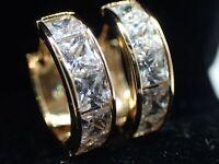 18K Yellow Gold Solid Women Girls 20mm Created Diamond Hoop huggies Earrings