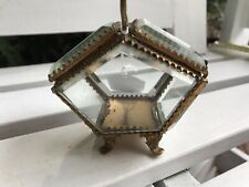 Victorian Etched Glass And Brass Trinket Box  - RRP $125