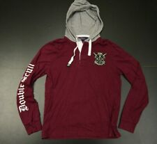 RALPH LAUREN POLO MEN'S CREST BURGUNDY DOUBLE SCULL HOODIE SIZE: SMALL