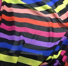 Chiffon Fabric - Multi Stripes 1/3 yard remnant