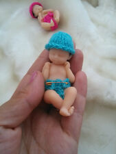 New Hand-made High Quality Reborn Baby Boy Miniature, Newborn 7cm