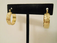 14K Gold Filled Center Designed Texture Hoop Earrings Item #A227