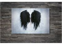 Banksy Black Angel Wing Canvas Wall Art Home Decor FRAMED