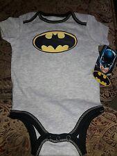 NWT Baby Boy Batman One Piece Jumper Batman Logo Gray with Black Trim 6-9 Months