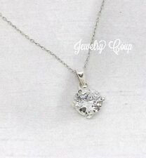 .925 Sterling Silver Round Cubic Zirconia Solitaire Pendant Necklace 18""