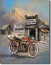 NAVAJO INDIAN MOTORCYCLE SHOP USA MOTO vintage design plaque métallique