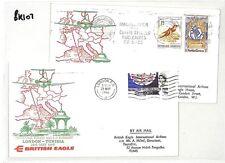 BK107 GB 1966 vuelo inaugural Londres Túnez británico Águila Cubierta {samwells} Pts