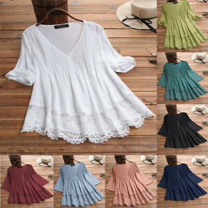 Womens Summer Casual Lace Long Sleeve T Shirt V Neck Blouse Loose Tops Pullover