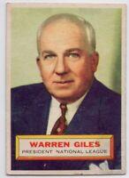 1956 Topps #2 Warren Giles Fair Condition  FREE SHIPPING