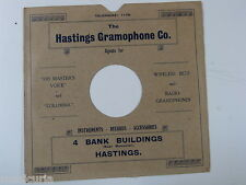 """78 rpm 10"""" inch card gramophone record sleeve HASTINGS GRAMOPHONE CO."""