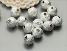 20x Glitzer Metall Perlen Kugel silber 8mm ms476