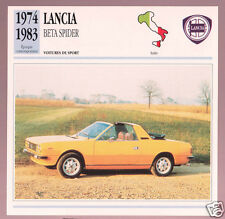 1974-1983 Lancia Beta Spider Yellow Car Photo Spec Sheet Stat Info French Card